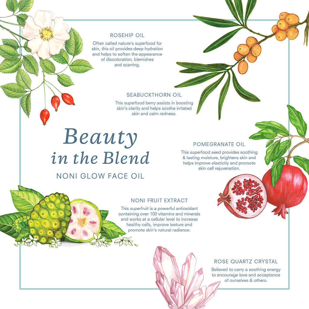Beauty in the Blend; Rosehip Oil, Noni Fruit, Sea Buckthorn Oil, Pomegranate & Rose Quartz