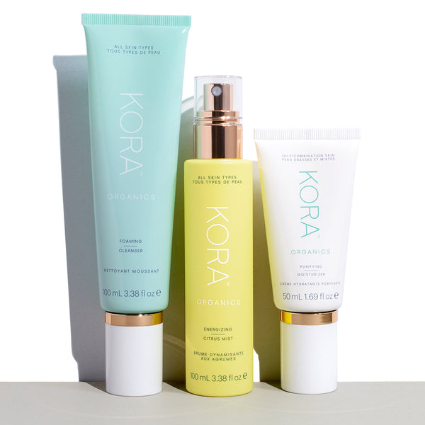 Foaming Cleanser, Energizing Citrus Mist, Purfying Moisturizer for Oily Combitantion Skin