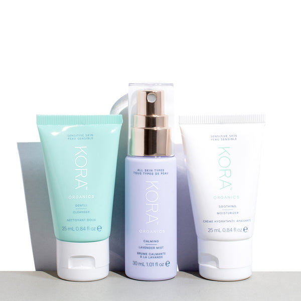 A daily ritual consisting of Gentle Cleanser 25mL, Calming Lavender Mist 30mL and Soothing Moisturizer 25mL for sensitive skin.