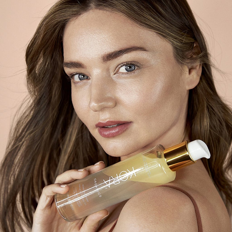 """This cleansing oil is so gentle and soothing. It turns into a milky texture that melts away all of my makeup and leaves my skin clean, soft & super smooth.""– Miranda Kerr, Founder & CEO of KORA Organics"