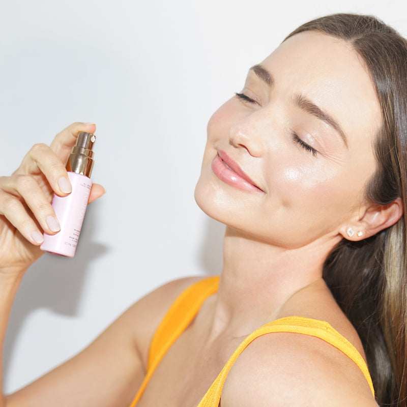 """I use this mist throughout the day. It's great to use as a toner after cleansing, as well as spritzing on top of makeup to refresh and give my skin an extra glow."" – Miranda Kerr, Founder & CEO KORA Organics"