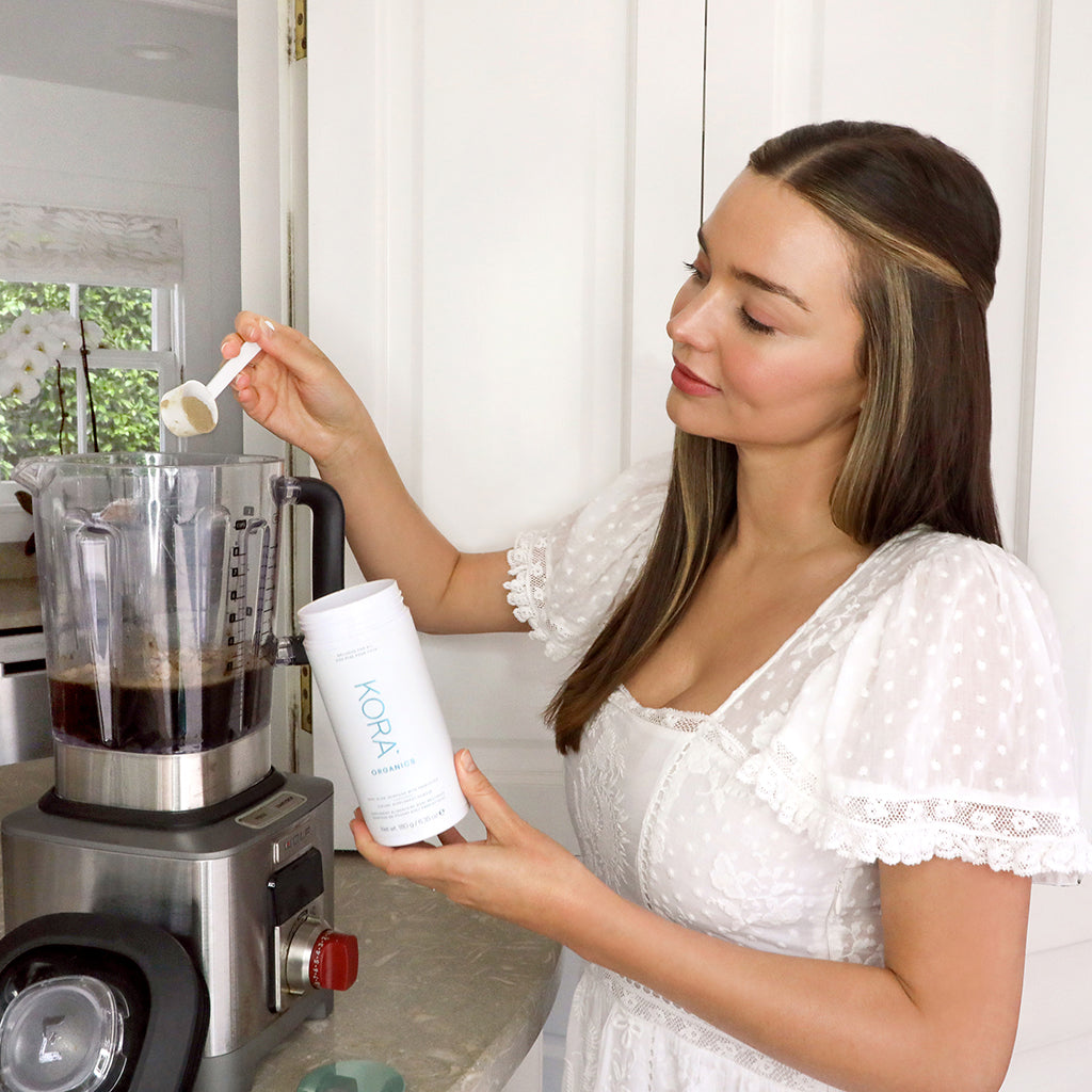 """I've been drinking Noni since I was 13 and feel it's the key to my health & vitality. I take it every morning before a meal and sometimes in the afternoon when I need an extra pick me up."" – Miranda Kerr, Founder & CEO KORA Organics"