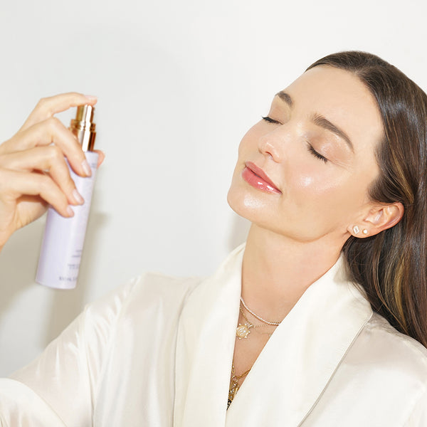 """I use this mist every night after cleansing. Not only is the delicate scent of lavender so relaxing, it also soothes tired skin. I also love to spritz some on my pillow for a deep and restful sleep."" – Miranda Kerr, Founder & CEO KORA Organics on the Calming Lavender Mist"