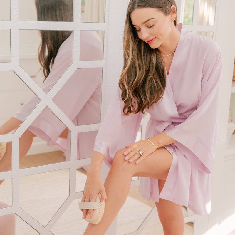 """Each morning I look forward to dry body brushing to help me wake up and start my day feeling refreshed & invigorated."" – Miranda Kerr"