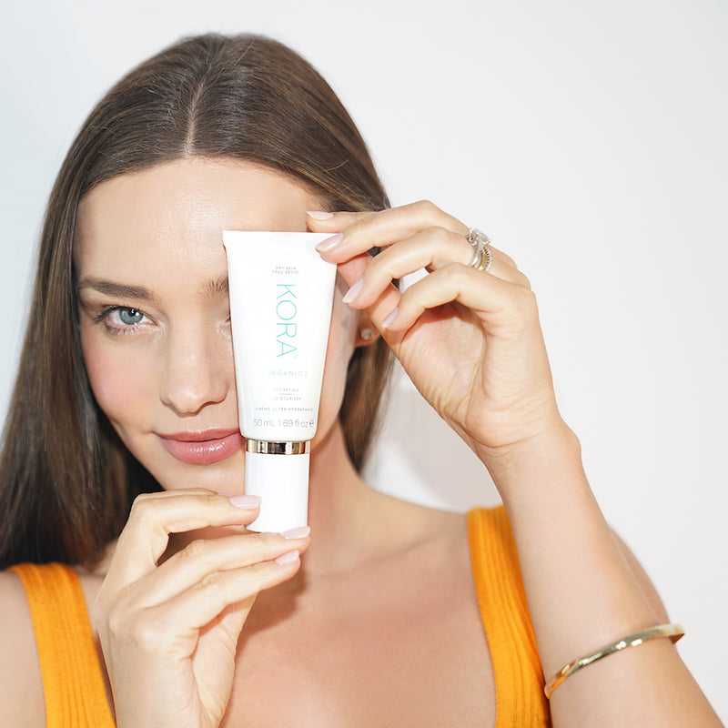 """Because my skin is naturally dry, I use this moisturizer morning and night. I like to mix it with a few drops of the Noni Glow Face Oil for extra hydration."" – Miranda Kerr Founder & CEO of KORA Organics"