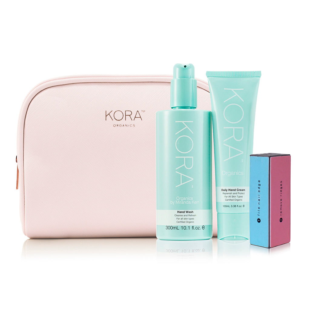 Mothers Day Gift Set - Gratitude. Daily Hand cream 100mL, Hand Wash 300mL & Nail Buffer Block with KORA Organics Beauty Bag