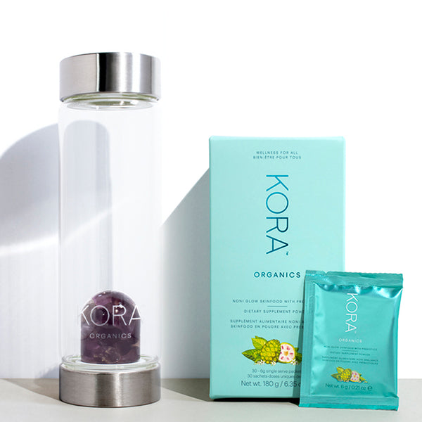 Nourish Essentials Balance - Kit contains Amethyst Glass Water Bottle & Noni Glow Skinfood Supplement with Prebiotics 30 Pack