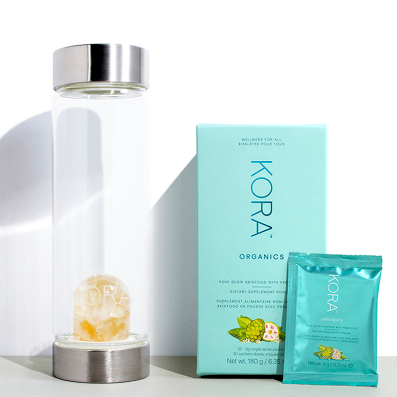Nourish Essentials Balance - Kit contains Citrine Glass Water Bottle & Noni Glow Skinfood Supplement with Prebiotics 30 Pack