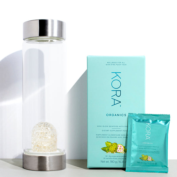 Nourish Essentials Clarity - Kit contains Clear Quartz Glass Water Bottle & Noni Glow Skinfood Supplement with Prebiotics 30 Pack