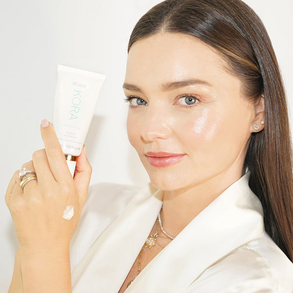 """Whenever my skin is feeling sensitive and irritated from too much makeup, travel or sun exposure, I use this moisturizer as it instantly calms and nourishes my skin."" – Miranda Kerr Founder & CEO of KORA Organics"