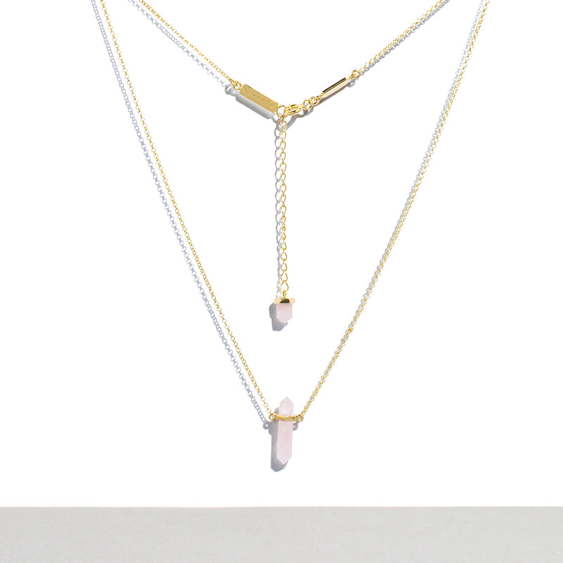 Krystle Knight Rose Quartz Crystal Necklace (12K Yellow Gold Plated 925 Sterling Silver Chain) Crystal* Measurement: 2cm x 0.4cm Chain Length: 21cm on each side of the crystal + 5cm adjustable