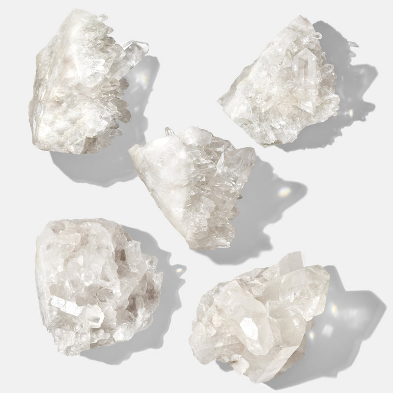 Raw Clear Quartz Crystals. As Crystals are natural stone, each stone will be unique and may vary in colour, appearance and size.