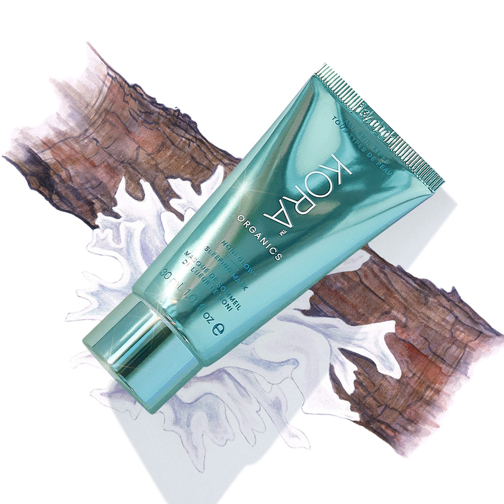 Noni Glow Sleeping Mask 30mL. This certified organic face mask helps to hydrate and plump skin.