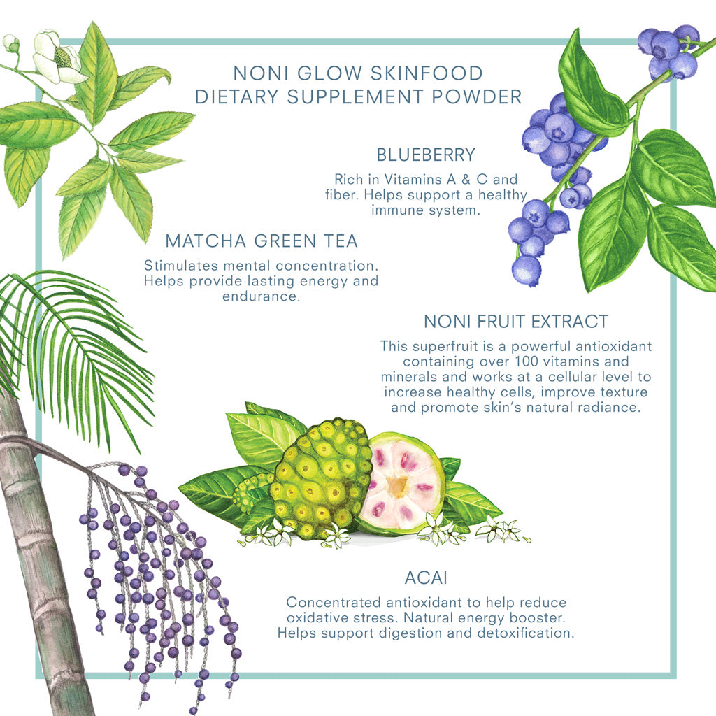 Our Noni Glow Skinfood Dietary Supplement Powder is a delicious blend of Noni Extract, Acai, Blueberry, Matcha Green Tea and more. KORA Organics