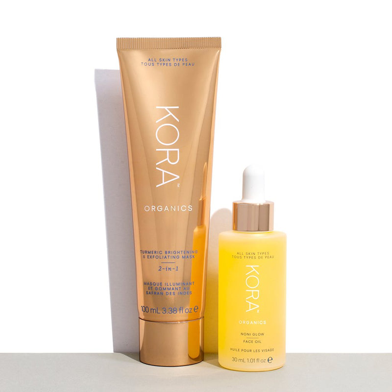 Glowing Essentials Collection contains our award-winning Noni Glow Face Oil 30mL and Turmeric Brightening & Exfoliating Mask 100mL. KORA Organics