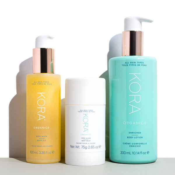 Pregnancy Essentials: Noni Glow Body Oil 100mL, Enriched Body Lotion 300mL, Noni Glow Body Balm 75g. Certified Organic Body Products. KORA Organics