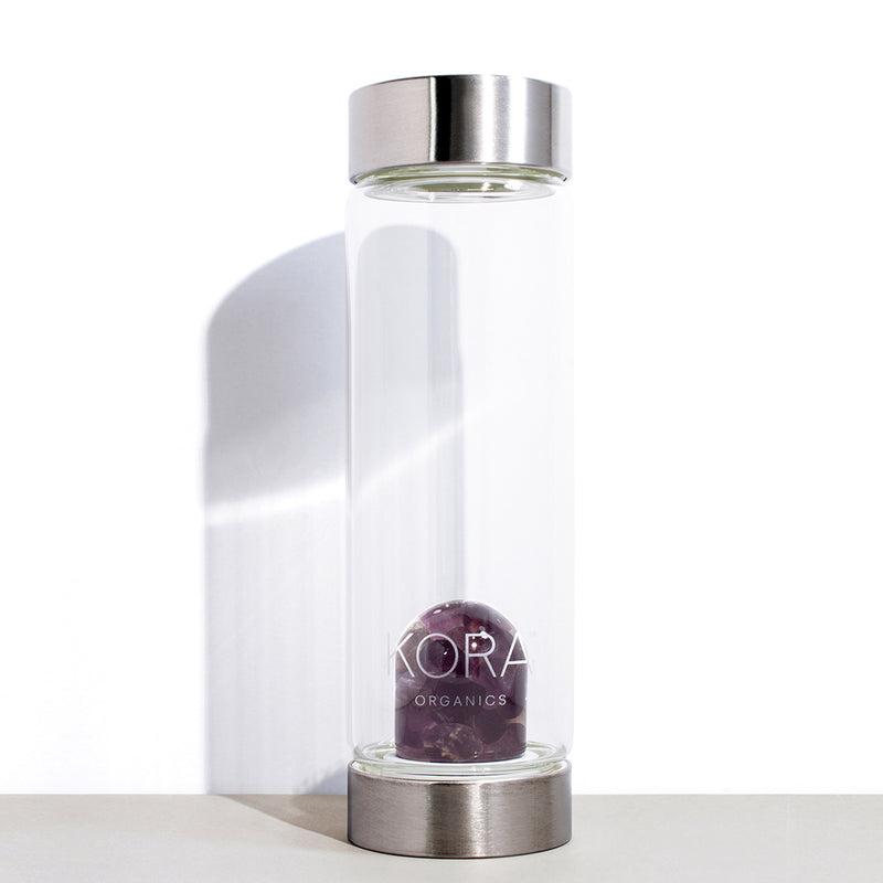 VitaJuwel x KORA Organics Amethyst and Glass Water Bottle | 500 mL / 16.9 fl oz