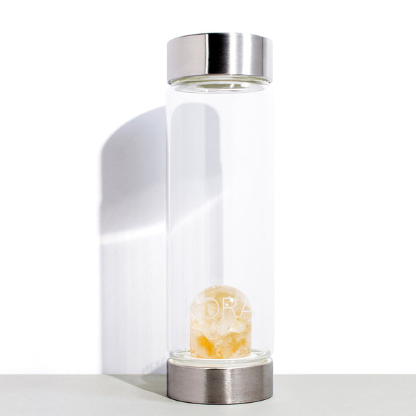 VitaJuwel x KORA Organics Citrine and Glass Water Bottle | 500 mL / 16.9 fl oz