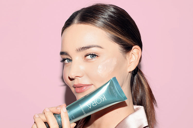 Miranda Kerr with the Noni Glow Sleeping Mask