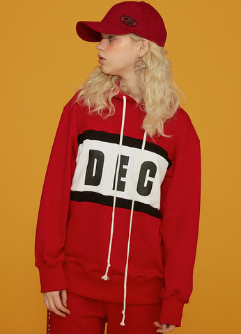 Color Block Patch Zip-Up Red
