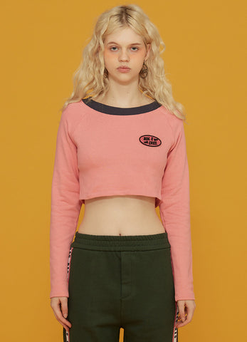 Dim. Circle Patch Crop Hoodie Beige