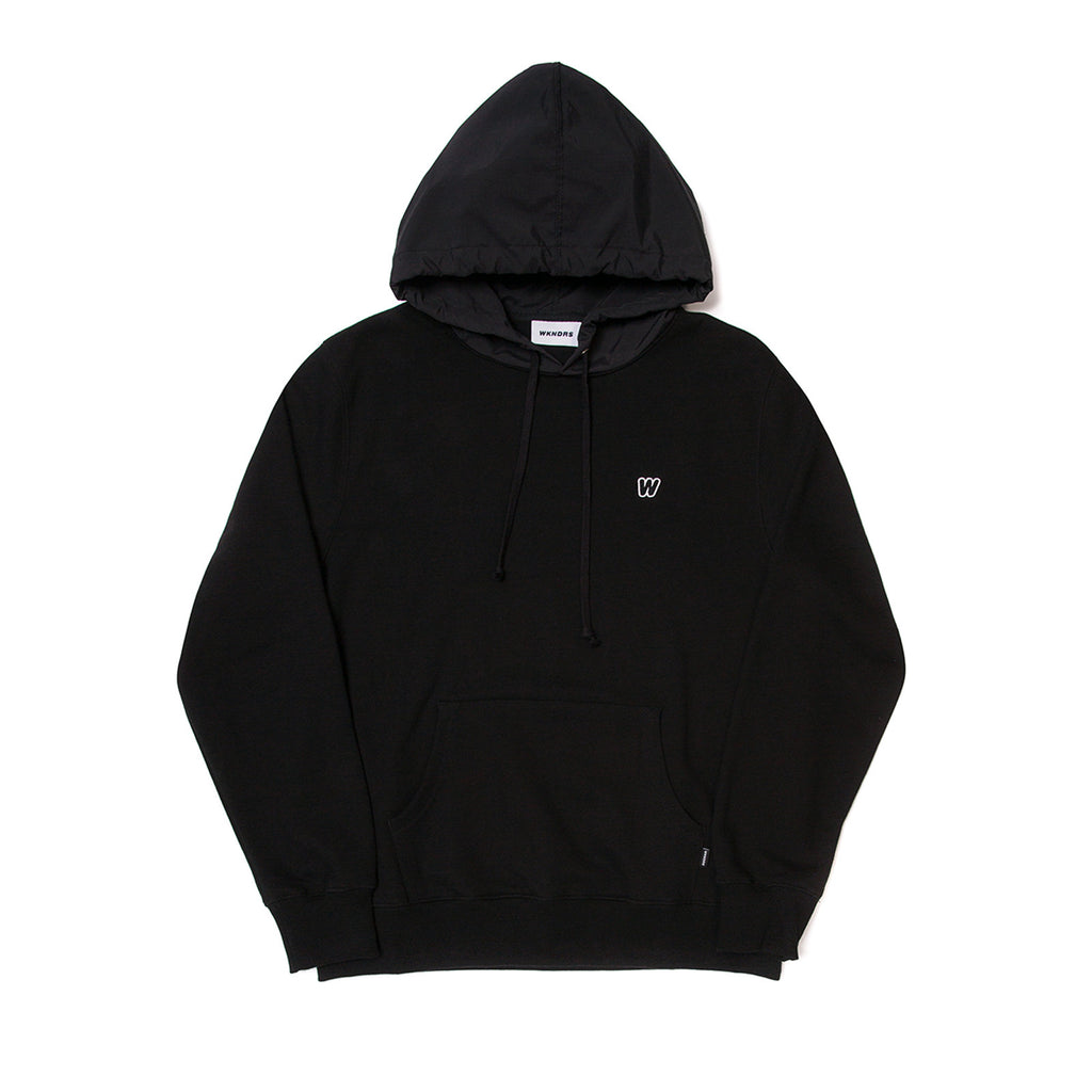 W LOGO NYLON HOODED SWEAT GREY