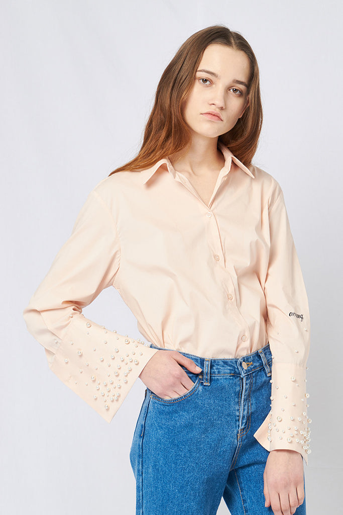 PEARL SLEEVE SHIRT LIGHT BEIGE
