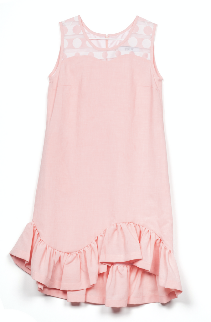 Dot sleeveless frill dress