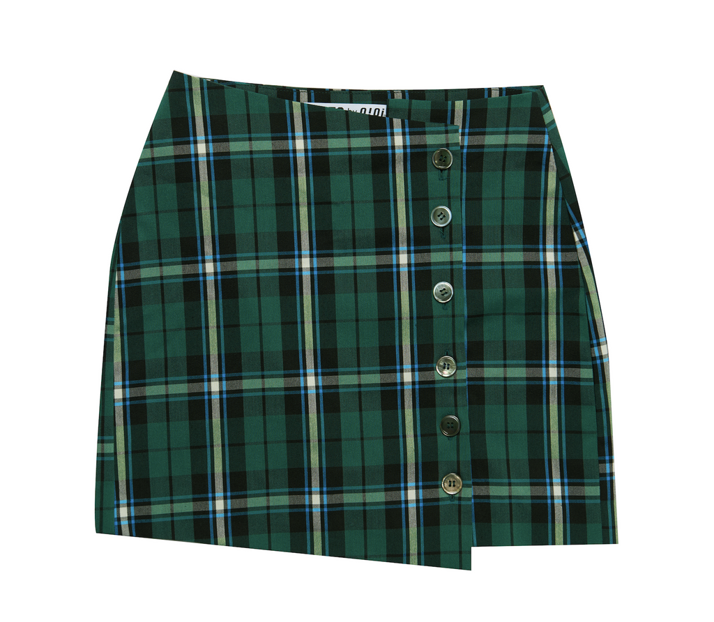 BUTTON CHECK WRAP SKIRT GREEN
