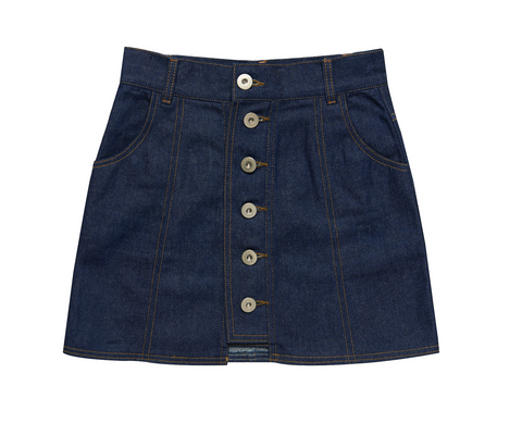 BUTTON POINT DENIM SKIRT LIGHT BLUE