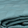 "Zigzag/Blue: Embroidered and quilted faux silk bed cover(96""*108"")"
