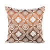 "Zevar/ Espresso: Mother of pearl silk cushion cover (16"" x 16"")"