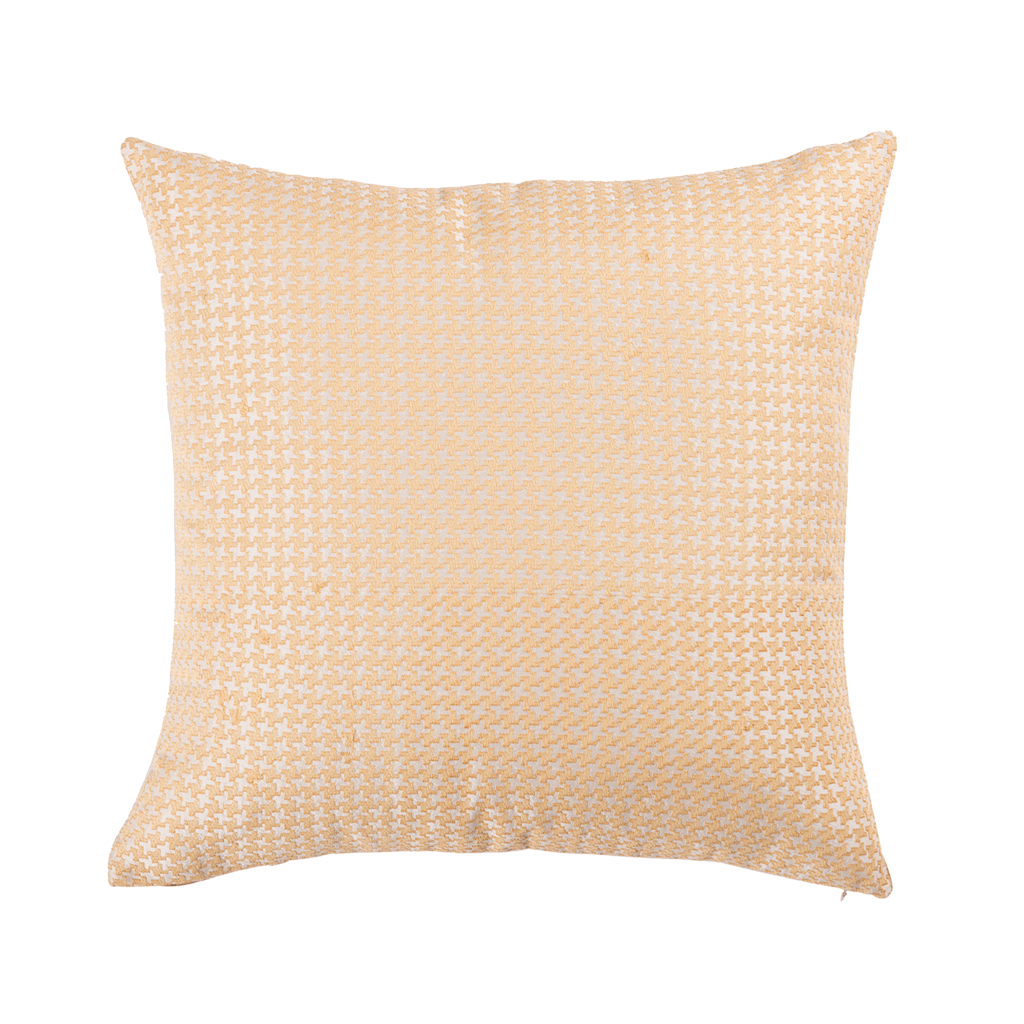 "Houndstooth/ Banana: Silk embroidered cushion cover (16"" x 16"")"