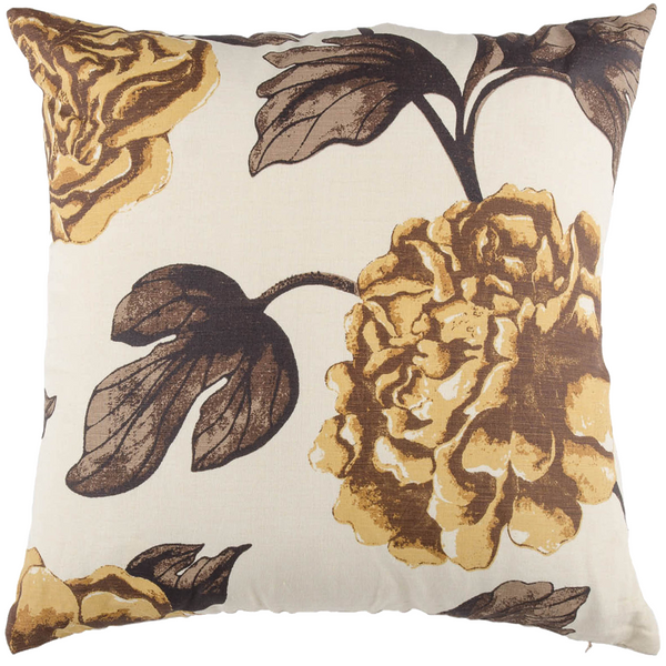 "Rose Garden/ Honey Bee: Onset Linen printed cushion cover (20"" x 20"")"