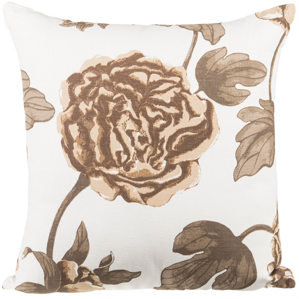 "Rose Garden/ Cream Beige :Onset Linen printed cushion cover (20"" x 20"")"
