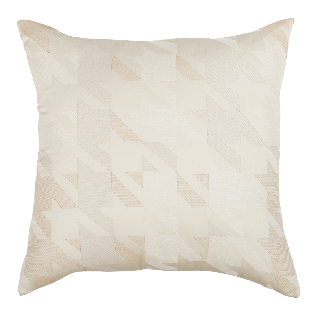 "Ombre Houndstooth/Cloud : Embroidered and quilted  cushion cover (18"" x 18"")"