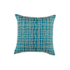 "Boucled Grid/ Straw: Hand embroidered silk cushion cover (12"" x 12"")"
