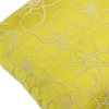 "Merrell/ Lime: Hand embroidered silk cushion cover (16"" x 16"")"