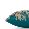 "Shimmer Camouflauge/ Aqua Bay: Hand Embroidered faux silk cushion cover (12"" x 12"")"