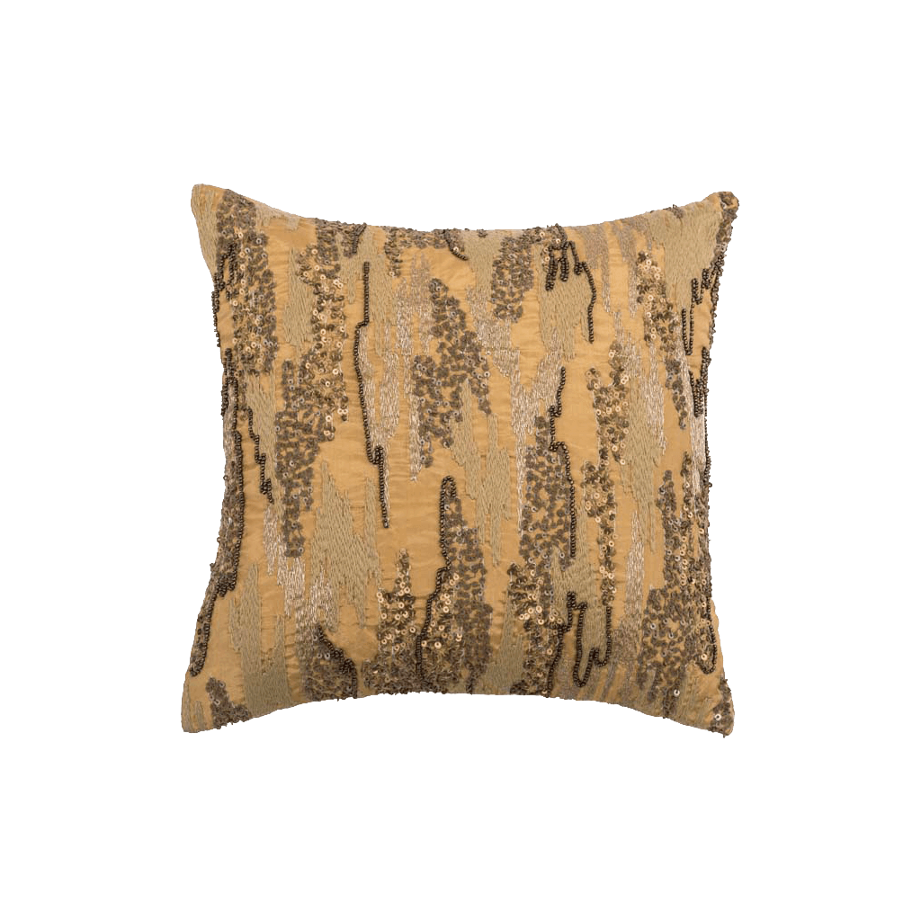 Gold Embroidered Polyster Designer Cushion Cover | Onset Designs