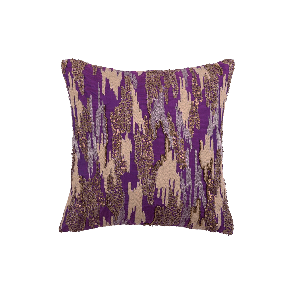 Purple Embroidered Polyster Designer Cushion Cover | Onset Designs