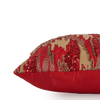 "Shimmer camouflauge/ Regal Red: Hand Embroidered faux silk cushion cover (12"" x 12"")"