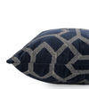 "Velvet grid/ Indigo: Velvet embroidered cushion cover (18"" x 18"")"