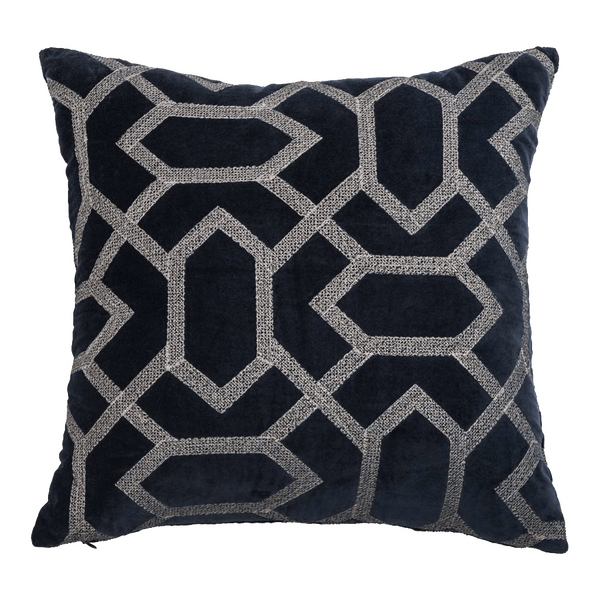 Blue Velvet Embroidered  Designer Cushion Cover | Onset Designs