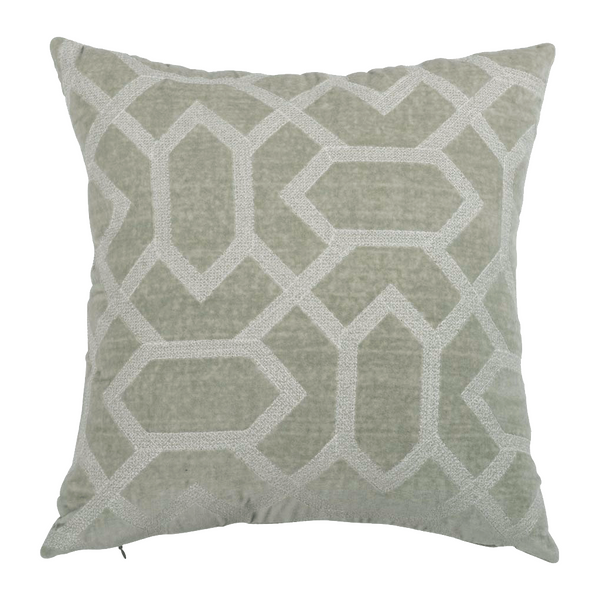 Grey Velvet Embroidered  Designer Cushion Cover | Onset Designs