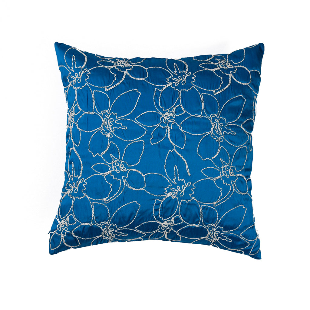 "Merrell/ Blue Lagoon: Hand embroidered silk cushion cover (16"" x 16"")"