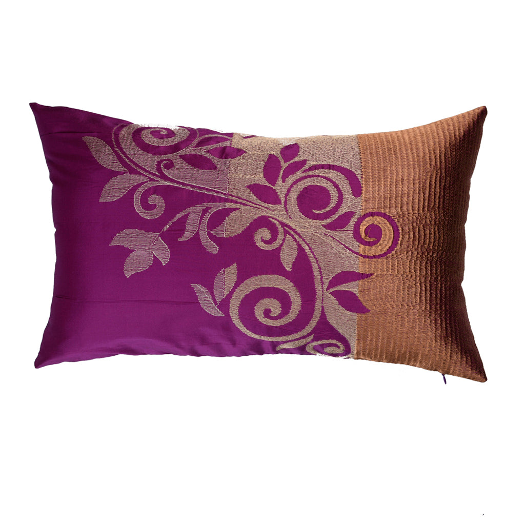"The Cushion Project Ombre Trellis/ Sangria: Silk embroidered cushion cover (12"" x 20"")"