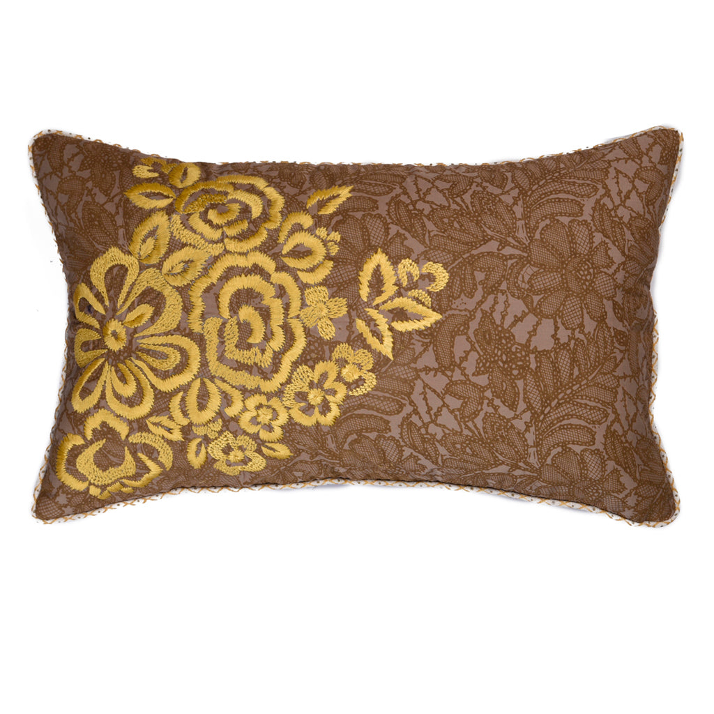 "Sugar cookie/ Yellow : Printed Hand Embroidered cushion cover (12""*20"")"