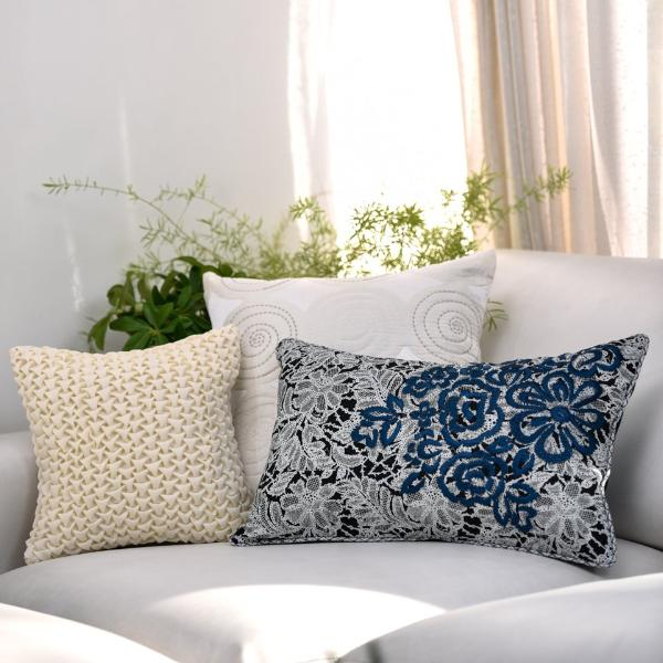 Set of 3 Seashore Blue  Cushion cover