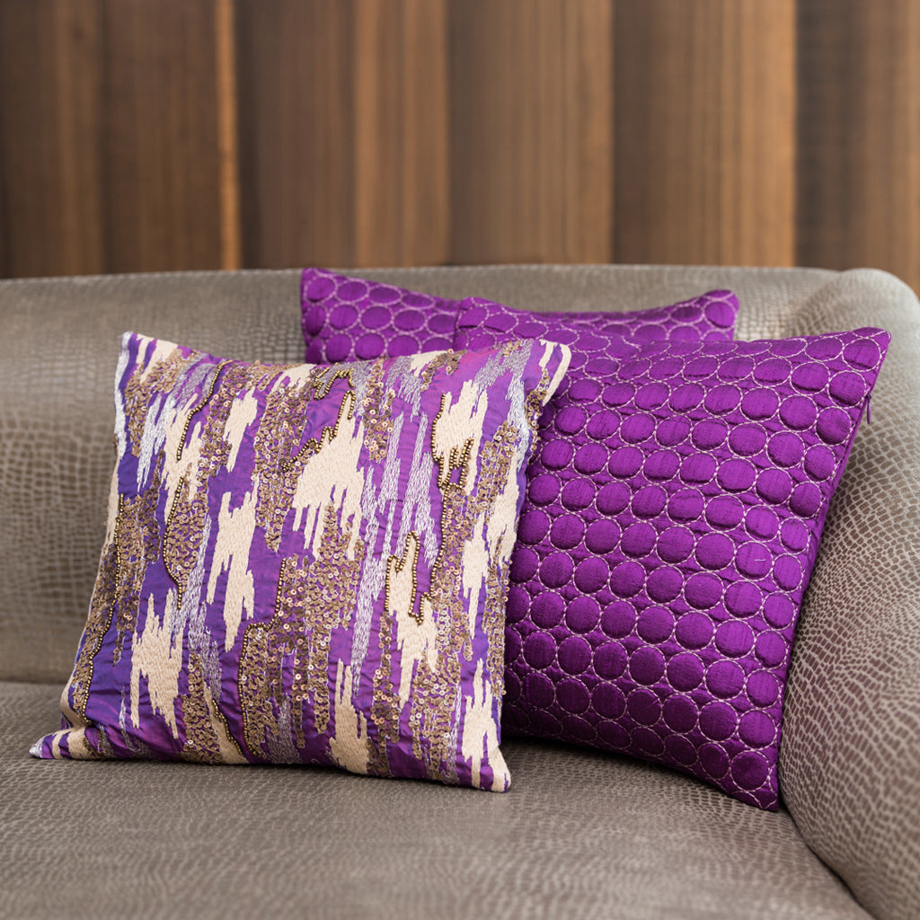 "The Cushion Project Set of 3  Purple Cushion Covers (12 X 12"")"